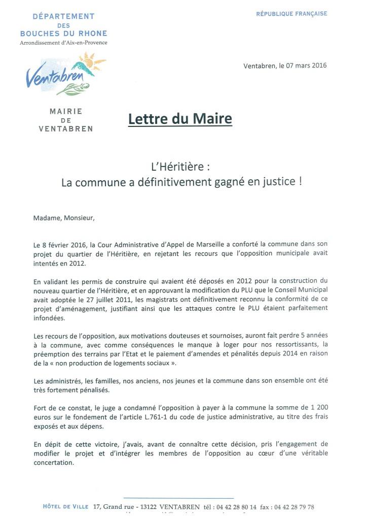 Lettre du Maire - L'Héritière la commune a définitivement gagné en just _1