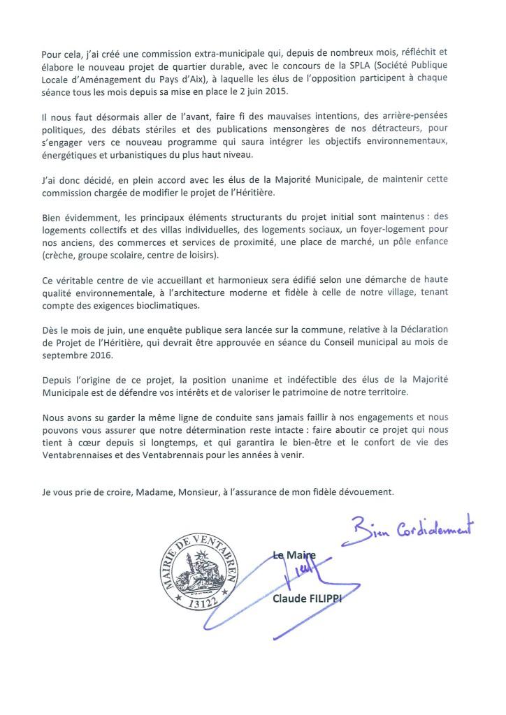 Lettre du Maire - L'Héritière la commune a définitivement gagné en just _2