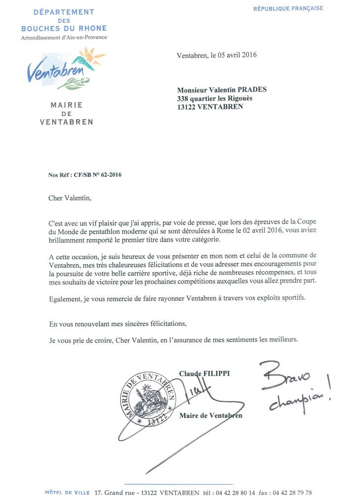 Courrier du Maire félicitations Valentin PRADES